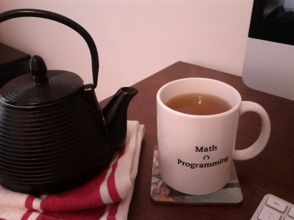 What could be greater than a Math ∩ Programming mug? A Math ∩ Programming mug filled with Jasmine tea while coding and writing proofs on a Saturday morning, that's what.
